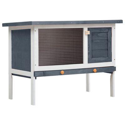 vidaXL Konijnenhok voor buiten met 1 verdieping hout grijs