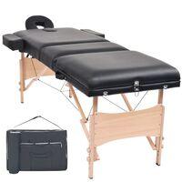 vidaXL Massagetafel inklapbaar 3 zones 10 cm dik zwart