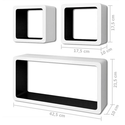 vidaXL Wandplanken kubus 6 st wit en zwart