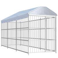 vidaXL Hondenkennel voor buiten met dak 450x150x200 cm