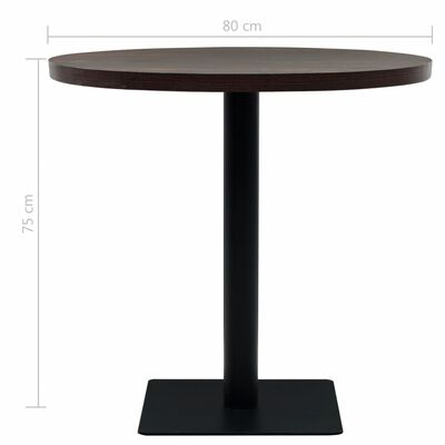 vidaXL Bistrotafel rond 80x75 cm MDF en staal donker essenkleur