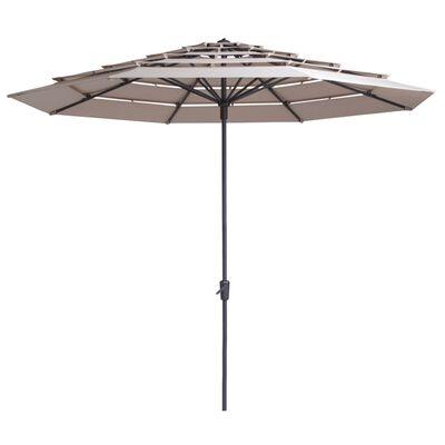 Madison Parasol Syros open structuur rond 350 cm ecru