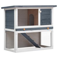 vidaXL Konijnenhok voor buiten met 1 deur hout grijs