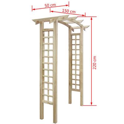 vidaXL Rozenboog latwerk 150x50x220 cm hout