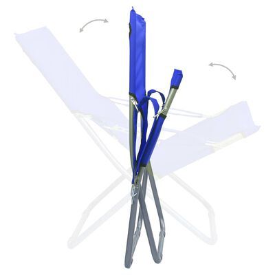vidaXL Strandstoelen 2 st inklapbaar stof blauw