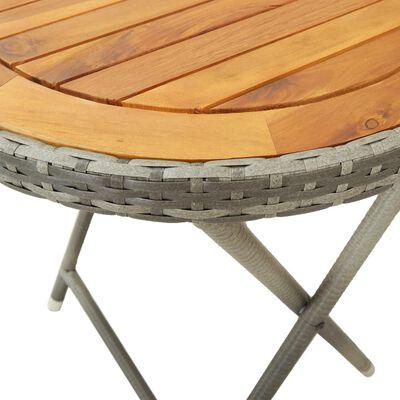 vidaXL Theetafel 60 cm poly rattan en massief acaciahout grijs