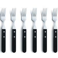Amefa 6-delige Steakvorkenset zilverkleurig en zwart