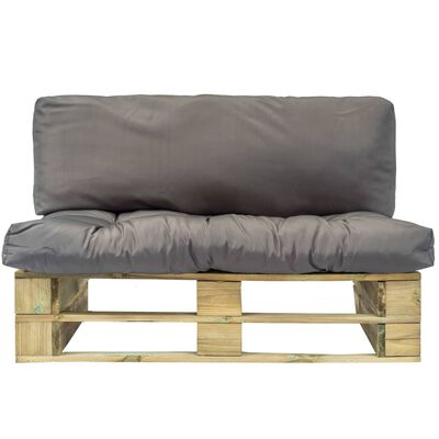 vidaXL Tuinbank met grijze kussens pallet grenenhout