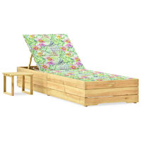 vidaXL Ligbed met tafeltje en kussen geïmpregneerd grenenhout