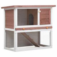 vidaXL Konijnenhok voor buiten met 1 deur hout bruin