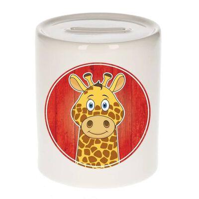 Vrolijke giraffe dieren spaarpot 9 cm - keramiek - spaarpotten voor