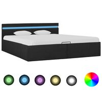vidaXL Bedframe met opslag en LED stof donkergrijs 160x200 cm