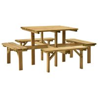 vidaXL Picknicktafel 4 zijden 172x172x73 cm geïmpregneerd grenenhout