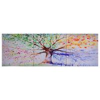 vidaXL Wandprintset regenboom 120x40 cm canvas meerkleurig