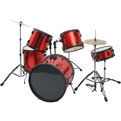 vidaXL Drumstel voor volwassenen gepoedercoat staal rood