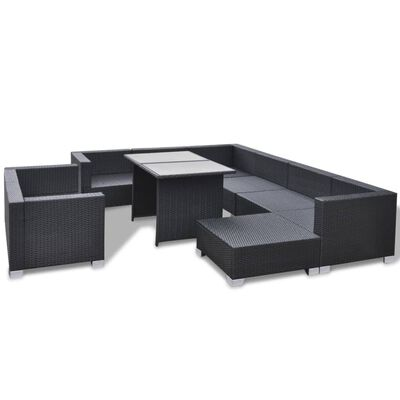 vidaXL 10-delige Loungeset met kussens poly rattan zwart