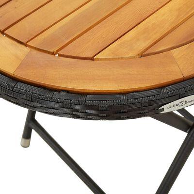 vidaXL Theetafel 60 cm poly rattan en massief acaciahout zwart
