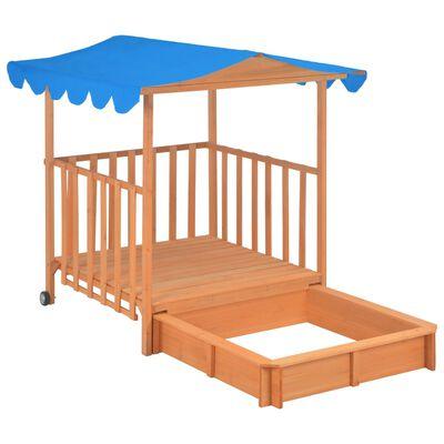 vidaXL Kinderspeelhuis met zandbak UV50 vurenhout blauw