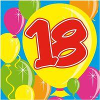 60x 18 jaar leeftijd themafeest servetten Balloons 25 x 25 cm -