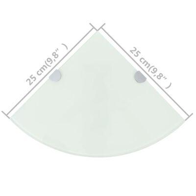 vidaXL Hoekschappen 2 st met chromen dragers 25x25 cm glas wit