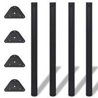 vidaXL Tafelpoten in hoogte verstelbaar zwart 870 mm 4 st