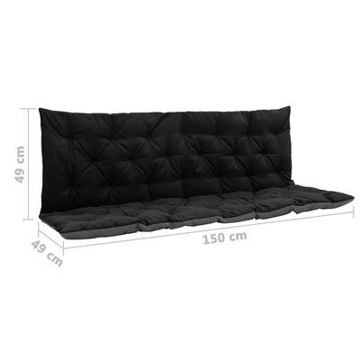 vidaXL Kussen voor schommelstoel 150 cm stof zwart en grijs