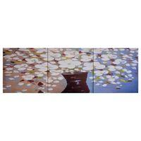 vidaXL Wandprintset bloemen in vaas 120x40 cm canvas meerkleurig