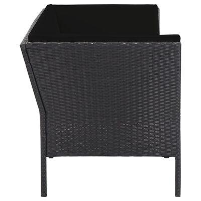 vidaXL 6-delige Loungeset met kussens poly rattan zwart