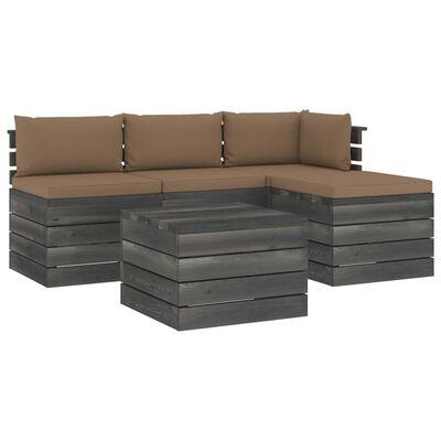 vidaXL 5-delige Loungeset met kussens pallet massief grenenhout