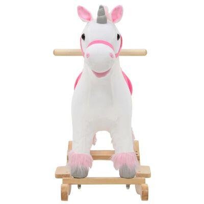 vidaXL Hobbeldier eenhoorn 65x32x58 cm pluche wit en roze