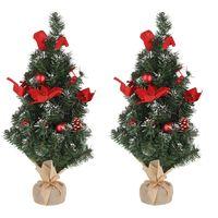 Set van 2x stuks kleine kunst kerstbomen met rode kerstversiering 60