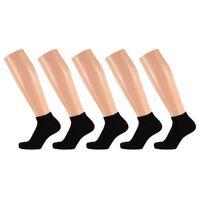 5 Paar zwarte dames sneakersokken/enkelsokken maat 36-41 -