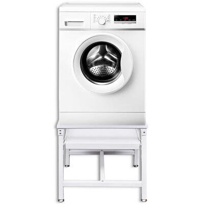vidaXL Wasmachineverhoger met uittrekbaar schap wit