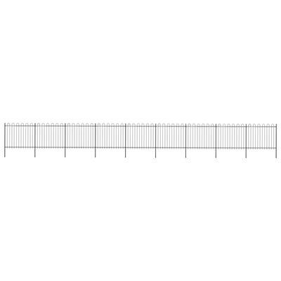 vidaXL Tuinhek met ronde bovenkant 15,3x1,5 m staal zwart