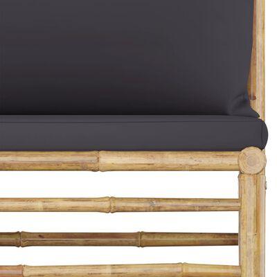 vidaXL 3-delige Loungeset met donkergrijze kussens bamboe