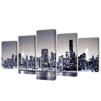 Canvasdoeken monochroom New York skyline 200 x 100 cm