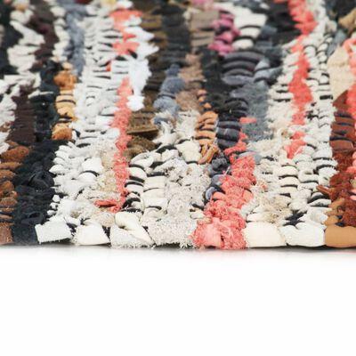 vidaXL Vloerkleed chindi handgeweven 160x230 cm leer meerkleurig