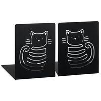 boekensteun Miauw zwart staal 12,5 x 16 x 16 cm 2 stuks