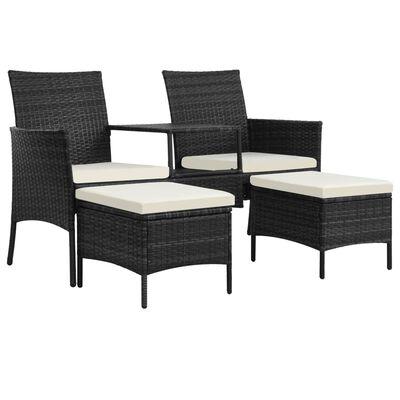 vidaXL Tuinbank 2-zits met tafeltje en krukken poly rattan zwart