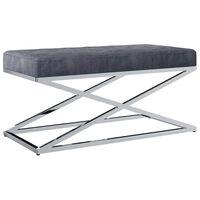 vidaXL Bankje 97 cm fluweel en roestvrij staal grijs