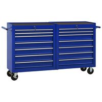 vidaXL Gereedschapswagen met 14 lades staal blauw