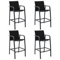 vidaXL Tuinbarstoelen 4 st textileen zwart