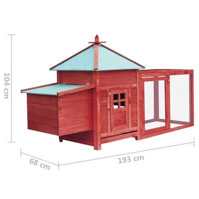 vidaXL Kippenhok met nestkast 193x68x104 massief vurenhout rood