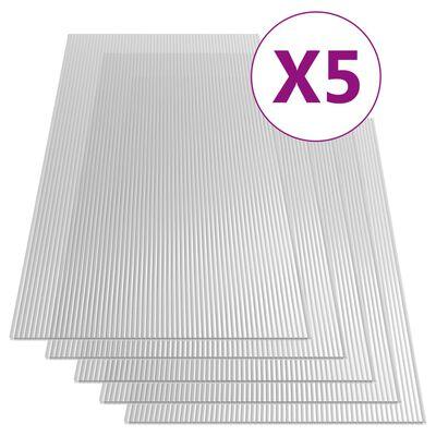 vidaXL Polycarbonaatplaten 5 st 4,5 mm 150x65 cm