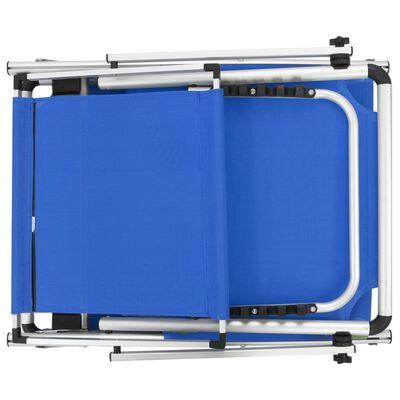 vidaXL Ligbed inklapbaar met dak aluminium en textileen blauw