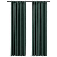 vidaXL Gordijnen linnen-look verduisterend haken 2 st 140x245 cm groen