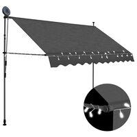 vidaXL Luifel handmatig uittrekbaar met LED 250 cm antraciet