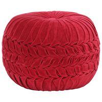 vidaXL Poef smock ontwerp 40x30 cm katoenfluweel rood