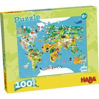 Haba Puzzel - Wereldkaart - 100 Stukjes