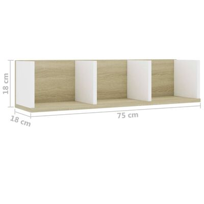 vidaXL Cd-wandschap 75x18x18 cm spaanplaat wit en sonoma eikenkleurig